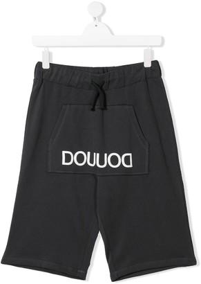 Douuod Kids TEEN logo printed track shorts