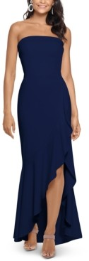 Xscape Evenings Ruffled Strapless Gown
