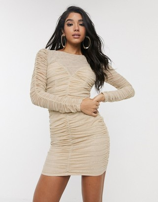 TFNC ruched meshed bodycon dress-Beige