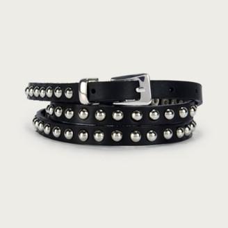 The White Company Leather Stud Skinny Belt, Black, XS