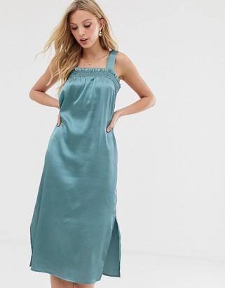 Y.A.S sheered detail satin midi dress-Green