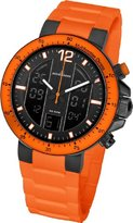 Jacques Lemans Milano Men's Quartz Watch with Multicolour Dial Analog - Digital Display and Orange Silicon Strap 1-1726H