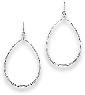Ippolita Sterling Silver Large Open Teardrop Earrings with Diamonds