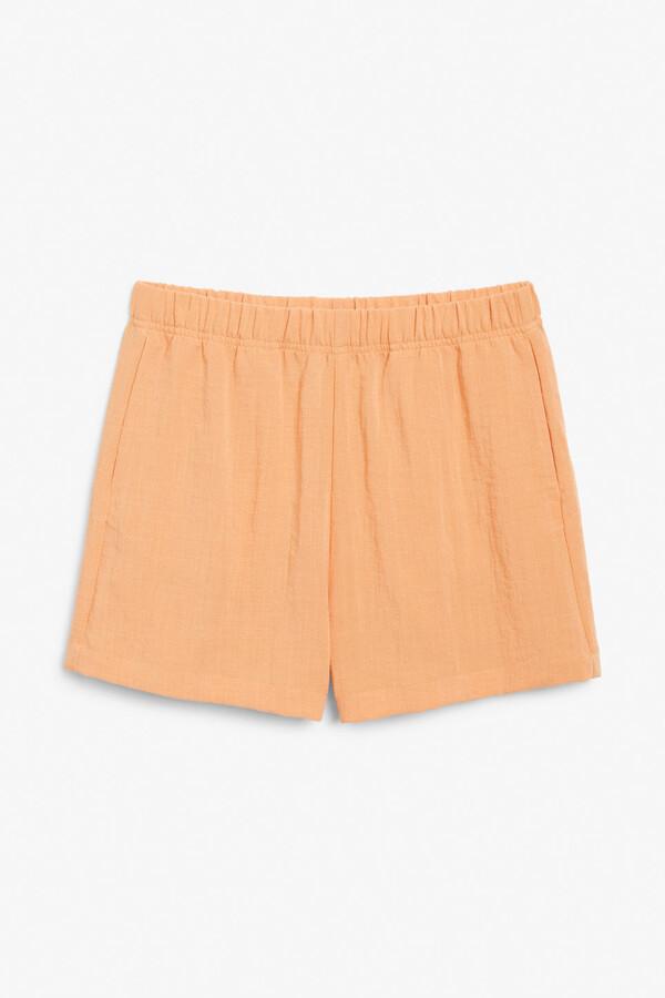 Thumbnail for your product : Monki High-waist seersucker shorts