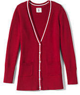 Lands' End Girls Piped Cardigan Sweater-Red