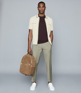 Reiss Tripper - Tipped Zip Through Polo Shirt in Ecru