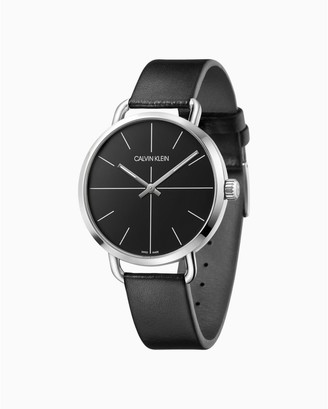 Even Black Leather Watch