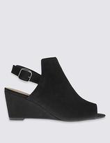 FootgloveTM Suede Wedge Heel Peep Toe Slingback Sandals