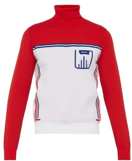 Prada Stripe Jacquard Roll Neck Sweater - Mens - Red Multi