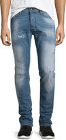 Diesel Tepphair Distressed Straight-Leg Jeans, Light Blue