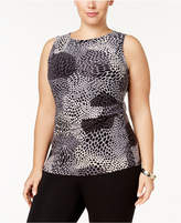 Anne Klein Plus Size Printed Ruched Shell