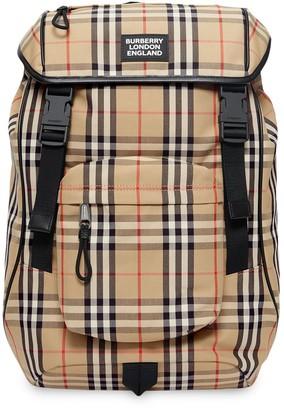 Burberry Logo Detail Vintage Check Backpack
