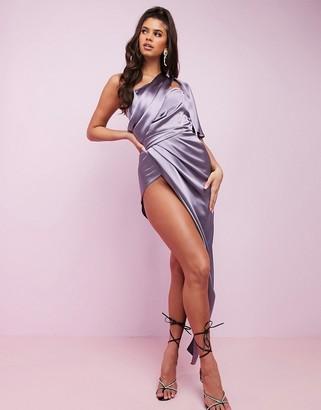 Asos Design DESIGN Luxe fallen one shoulder high low premium satin drape maxi dress with hidden boning-Purple