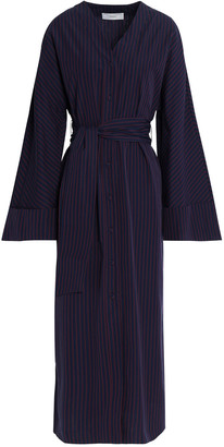 Pringle Belted Striped Cotton-poplin Midi Dress