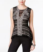 Bar III Crochet Peplum Top, Only at Macy's