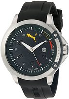 Puma Quartz Stainless Steel and Silicone Watch, Color:Black (Model: PU104011002)