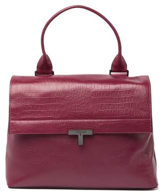 T Tahari Reset T-Shopper Snake Embossed Leather Satchel