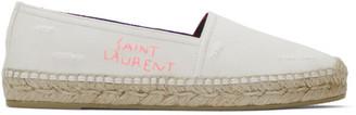 Saint Laurent Off-White Used-Look Cloth Espadrilles