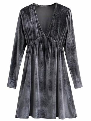 Goodnight Macaroon 'Melanie' V-Neck Grey Velvet Mini Dress