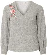 Dorothy Perkins Petite Grey Embroidered Wrap Top
