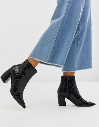 Office aloud pointed block heel ankle boots in black croc