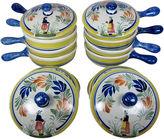 One Kings Lane Vintage Quimper Onion Soup Bowls & Lids, 16 pcs.