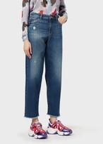 Emporio Armani J90 Micro-Scraped, Vintage-Look Denim Boyfriend Jeans
