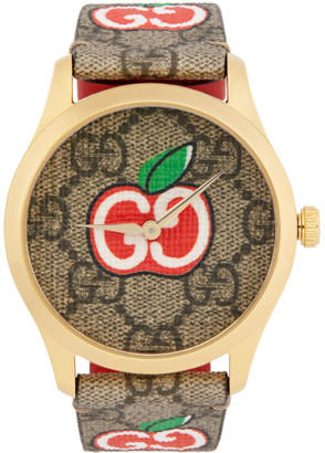 Gucci Gold and Brown Valentines Day G-Timeless Watch