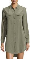 Equipment Slim Signature Long-Sleeve Shirtdress, Dusty Olive