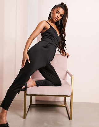 Asos Design ASOS LUXE scuba wrap front cami jumpsuit in black