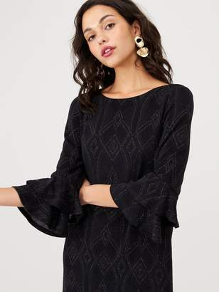 Wallis Diamond Double Flute Sleeve Dress - Black