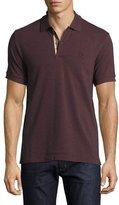 Burberry Short-Sleeve Oxford Polo Shirt, Elderberry Melange