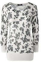 Lands' End Women's Tall Supima 3/4 Sleeve Print Sweater-Royal Floral