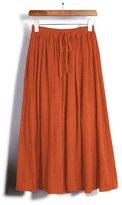 OCHENTA Womens Cotton Linen Solid Basic Fold-Over Stretch Midi Skirt