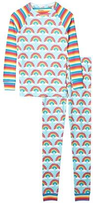 Hatley Magical Rainbows Raglan PJ Set (Toddler/Little Kids/Big Kids) (Aqua) Girl's Pajama Sets