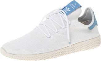 adidas Pharrell Williams x White Cotton Knit PW Tennis Hu Sneakers Size 46