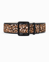 White House Black Market Leopard Printed Haircalf Wide Buckle Belt