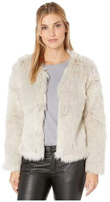 True Grit Dylan by Melange Heather Faux Fur Jacket with Heather Knit Lining (Heather Natural) Women's Clothing