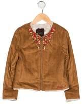 Catimini Girls' Embroidered Vegan Suede Jacket