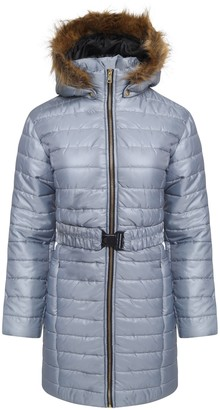Fashion Oasis New Ladies Shiny Wet Look Womens Belted Long Quilted Fur Hooded Jacket Coat (XL -14