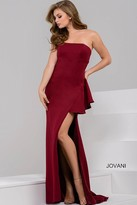 Jovani Strapless Long Dress with High Slit 48789