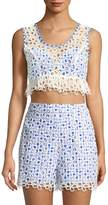 Anna Sui Women's Cotton Gingham and Daisies Cropped Top