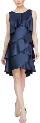 Slny Satin Tiered Petal Shift Dress