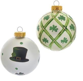 Kurt Adler St. Patrick's Day Shamrock Ball Christmas Ornament 6-piece Set