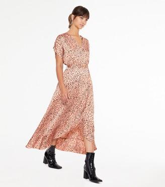 New Look Spot Satin Wrap Ruffle Midi Dress