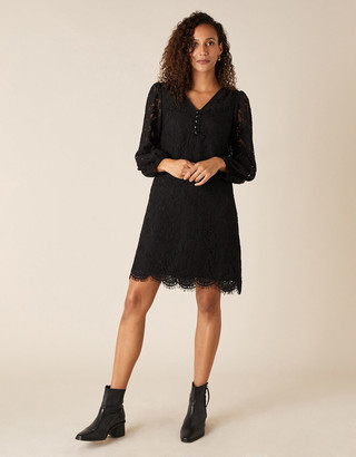 Monsoon Lace Knee-Length Dress Black