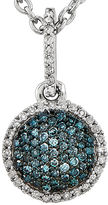 FINE JEWELRY 1/5 CT. T.W. White and Color-Enhanced Blue Diamond Circle Necklace
