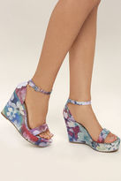 Bamboo Charleen Purple Multi Ankle Strap Wedge Sandals