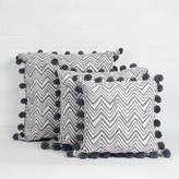 Bohemia Hand Block Print Zig Zag Pom Pom Cushion
