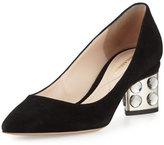Nicholas Kirkwood Prism Suede Faceted Block-Heel Pump, Black
